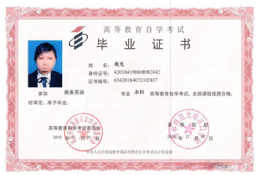 汉口学院自考本科毕业证书
