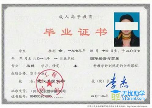 武汉工程大学成教专科毕业证书